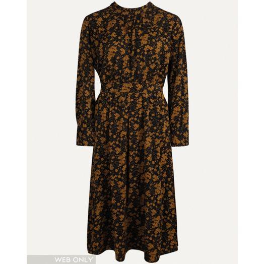Smashed Lemon   Floral Print Midi Dress - Navy/ Mustard