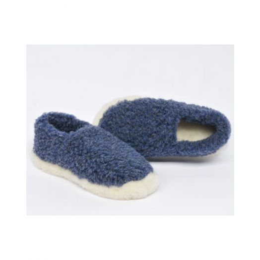 Sheep By the Sea  100% Merino Wool Slippers - Dark Blue