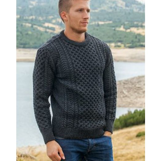 Original Aran Co. | Traditional Crew Aran Sweater Unisex 2514- Charcoal
