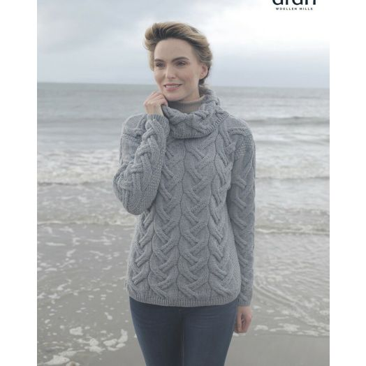 Aran Woollen Mills | Supersoft Merino Wool Chunky Cowl Neck Sweater - Ocean Grey