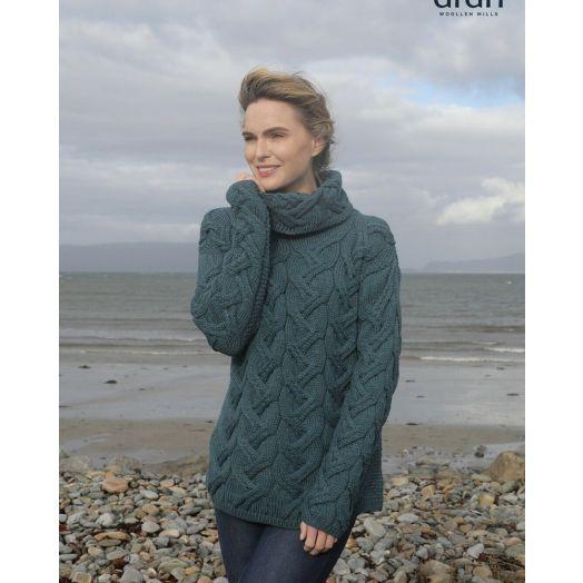 Aran Woollen Mills | Supersoft Merino Wool Chunky Cowl Neck Sweater | B692 - Irish Sea Blue