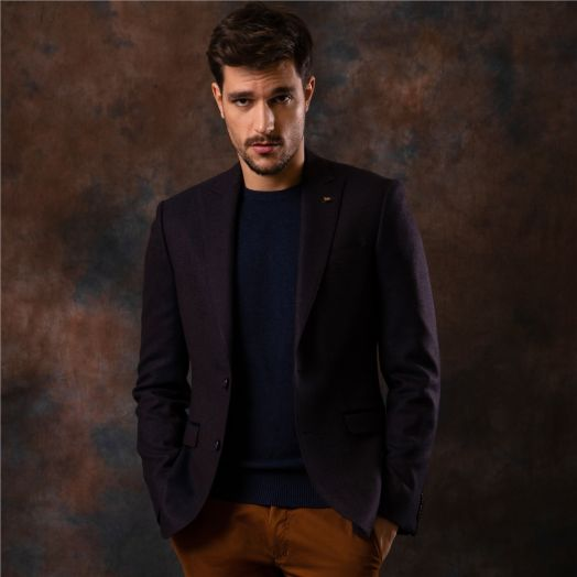 Magee | Hopsack Weave Tailored Fit Jacket-Navy and  Rust