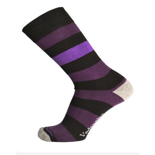 Vedoneire   Men's Stripy Cotton Socks Black   Size 7-12