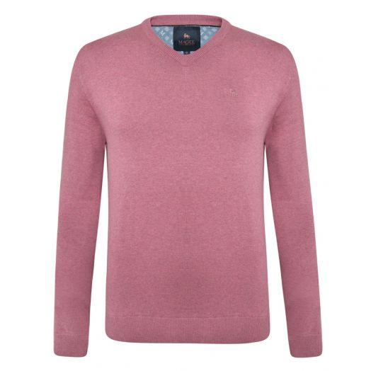 Magee | Carn Cotton V Neck Jumper-Pink