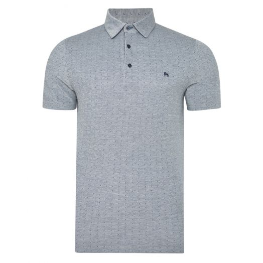 Magee | Rahan Jaquard Tailored Fit Polo Shirt- Grey