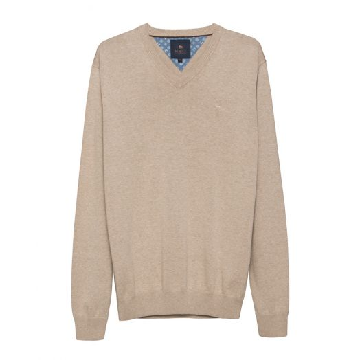 Magee | Carn Cotton V Neck Jumper-Oatmeal