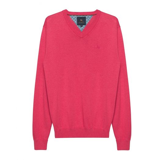 Magee | Carn Cotton V Neck Jumper-Raspberry
