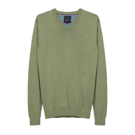 Magee | Carn Cotton V Neck Jumper-Green