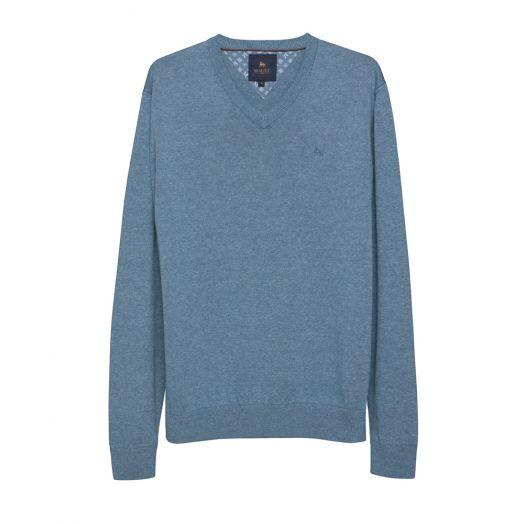 Magee | Carn Cotton V Neck Jumper-Denim Blue