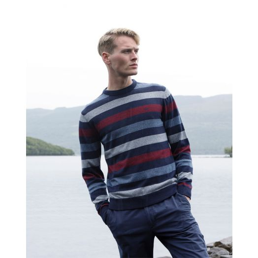 Magee | Killybegs Cotton Crew Neck Jumper- Blue and Burgundy Stripe
