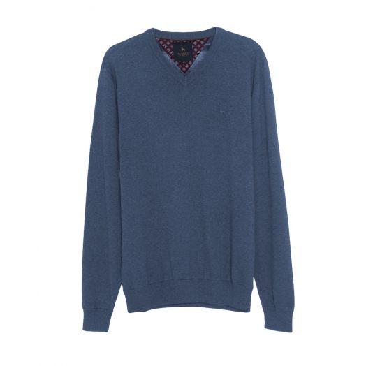 Magee | Carn Cotton V Neck Jumper-Blue Melange