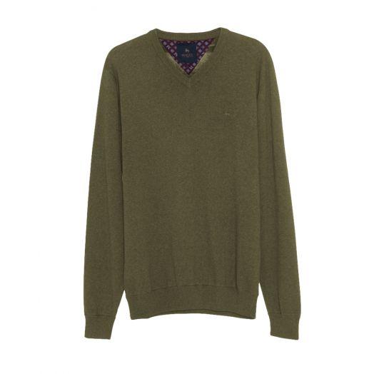 Magee | Carn Cotton V Neck Jumper-Olive Green