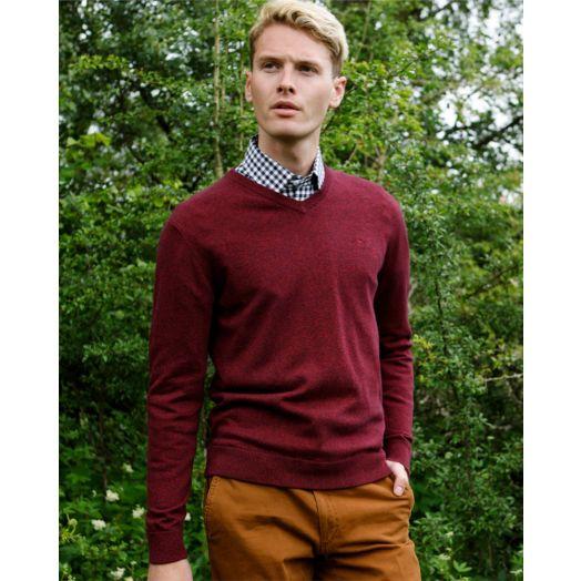 Magee | Carn Cotton V Neck Jumper-Burgundy