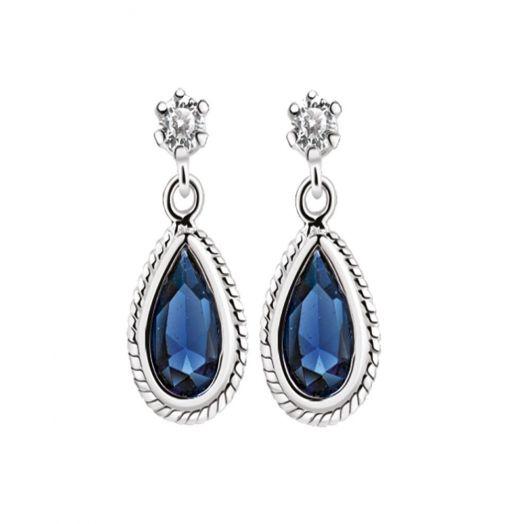 Newbridge Silverware | Silver Earrings with Blue Stone