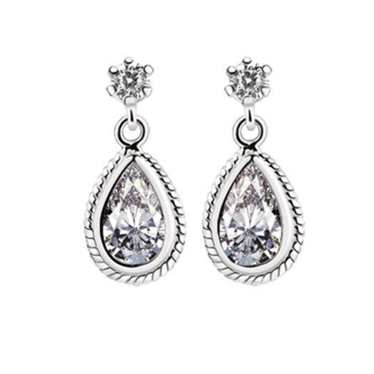 Newbridge Silverware | Silver Drop Earrings with Clear Stone
