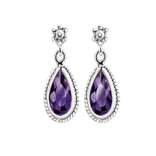 Newbridge Silverware | Silver Earrings with Purple Stone