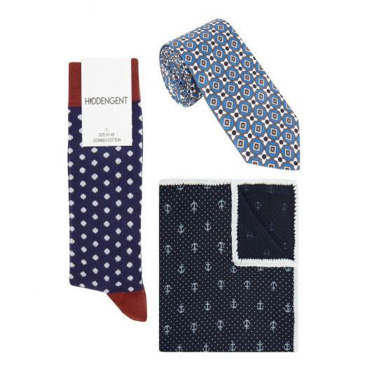 Hidden Gent | Three Piece Sirius Pocket Square, Tie and Socks Set