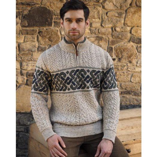 West End Knitwear | Aran Celtic Half Zip Sweater-x4843-Oatmeal