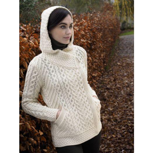 West End Knitwear | Side Zip Hooded Cardigan HD4916- Natural