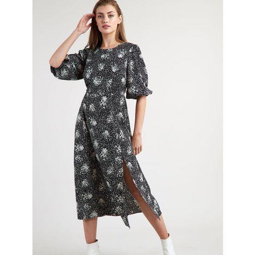 Louche | Riley Scatter Spray Midi Dress- Black