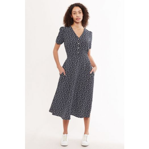 Louche | Avril Forget Me Knot Midi Tea Dress -Navy