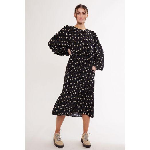 Louche | Lilianne Anemone Print Midi Dress- Black