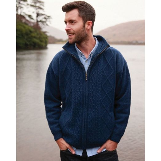 Aran Woollen Mills   Traditional Aran Handknit Zip Sweater   S156 - Navy