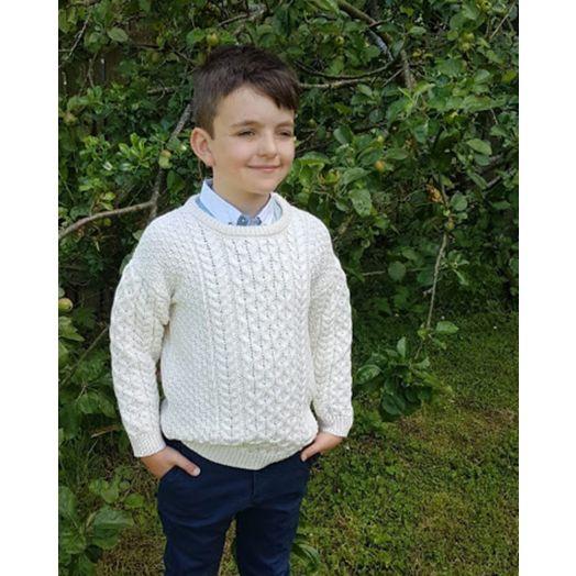 Original Aran Co. | Kids Crew Neck Aran Sweater- Natural