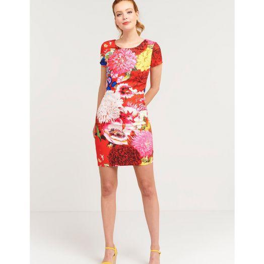 Smashed Lemon | Floral Print Dress- Red/Pink