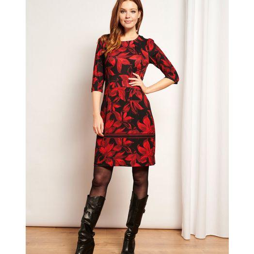 Smashed Lemon | Aicha Print Midi Dress -Red/ Black