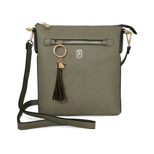 Tipperary Crystal | Chelsea Cross Body Pouch Bag- Olive