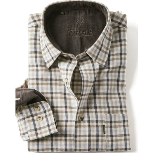 Vedoneire | Long Sleeve Cotton Shirt - Beige/Blue