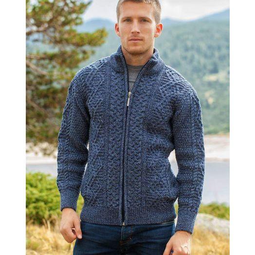 Original Aran Co. | Men's Full Zip Fisherman Sweater 6031- Denim Marl