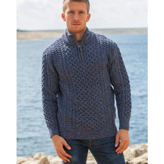 Original Aran Co. | Men's 1/4 Zip Honeycomb Sweater 2507A -Denim