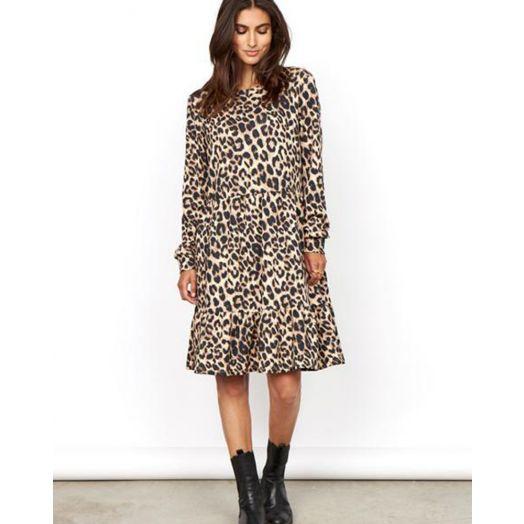 Soya Concept | Banu Printed Dress -Camel Leopard