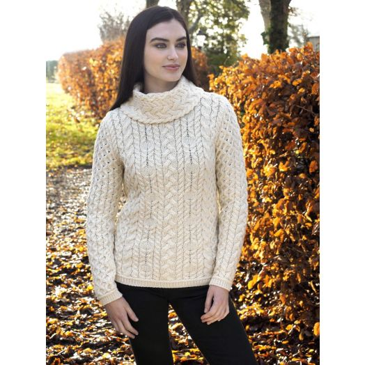 West End Knitwear   Cable Cowl Neck Sweater - Natural