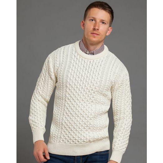 Traditional Crew Aran Sweater Unisex | Natural 2514