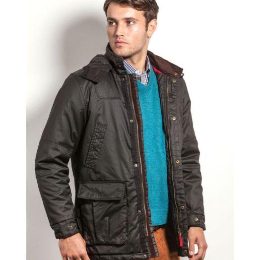 Vedoneire   Wax Jacket with Detachable Hood 3053-Black