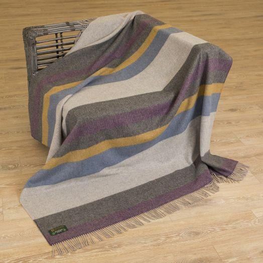 John Hanly | Merino Lambswool Stripe Throw - Beige/Brown and Orange