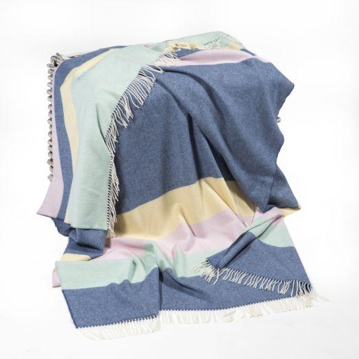 John Hanly | Merino Lambswool Stripe Throw - Blue/Lilac and Yellow