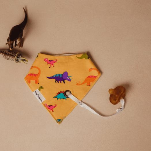The Stork Box | Arlo Dinosaur Bandana Dribble Bib -Yellow