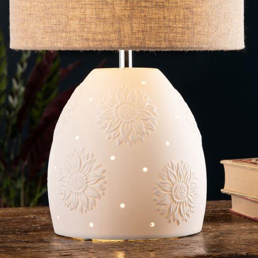 Belleek  Sunflower Double Bulb Lamp