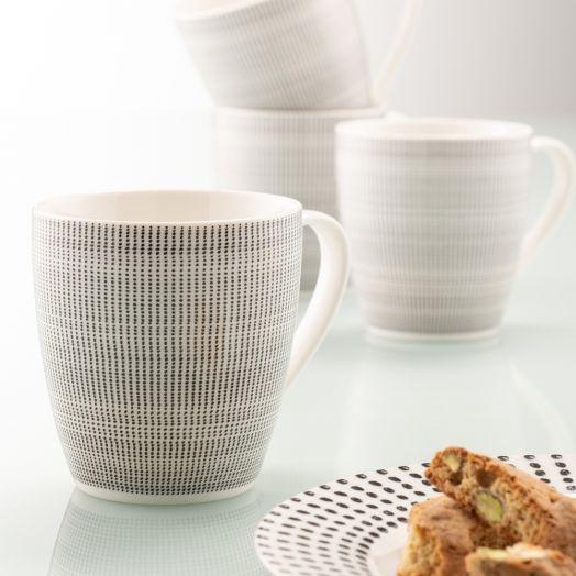 Belleek | Aynsley Spots and Dots Mug Set of 4 in Black