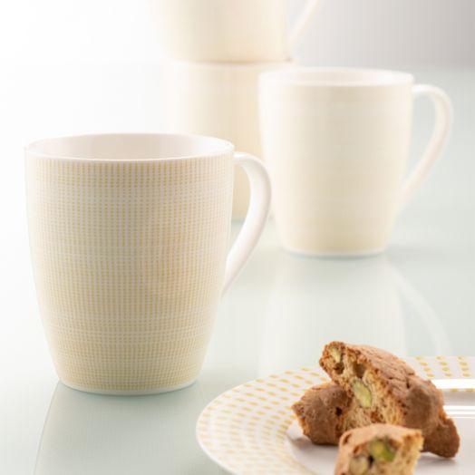 Belleek | Aynsley Spots and Dots Mug Set of 4 in Mustard