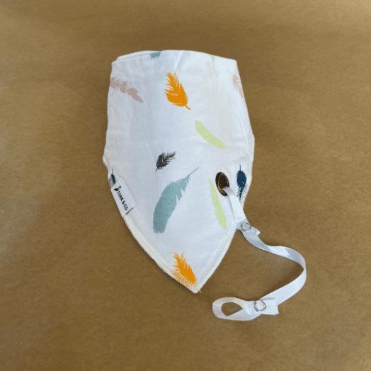 The Stork Box | Nico Bandana Bib- White Feather