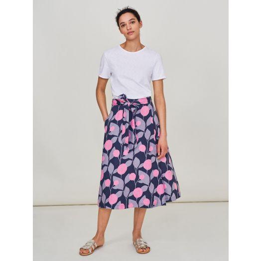 White Stuff | Themba Wrap Linen Skirt- Muted Purple Print