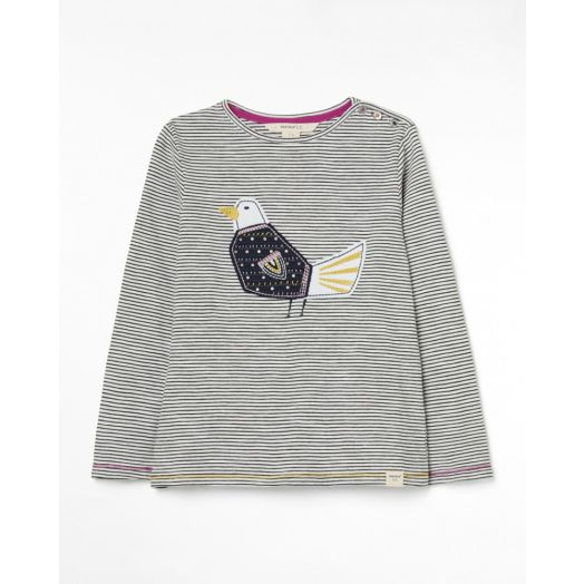 White Stuff | Flying Home Jersey Tee Shirt- Navy Mix