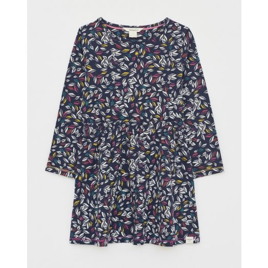 White Stuff | Scattered Leaves Jersey Dress- Navy Multi