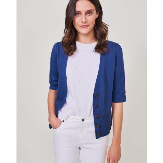 White Stuff   Lilly V Neck Cardigan - Bright Blue