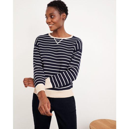 White Stuff | Reversible Sweater - Navy/Beige Mix